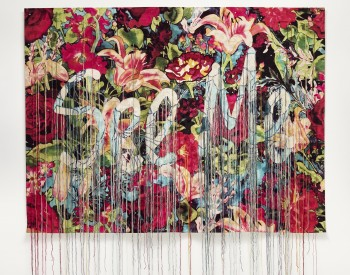 Ebony G. Patterson (Jamaican, born 1981). …bearing witness… , 2017. Archival dyes on jacquard, with embroidery, hand-knotted threads; 52 × 69 in. (132.1 × 175.3 cm). Museum purchase, Bequest of W. Hawkins Ferry by exchange, 2018.7.