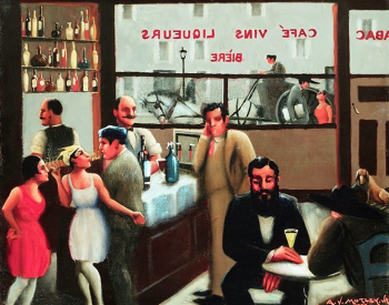Painting: Patrons drinking cocktails inside the cafe, cafe name appears backwards on the window in the background