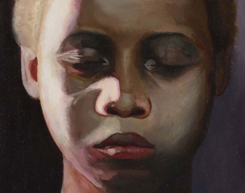"""""""The Child (Night),"""" 2011, Tylonn J. Sawyer, American; oil on panel. From the collection of Lorna Thomas, M.D."""