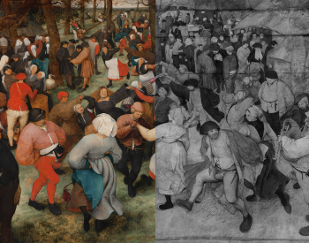 Composite image of the Wedding Dance depicting half of the painting in normal light and the other half in infrared.