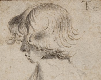 """Head of a Boy,"" ca. 1634, Gerard Terborch the Younger, Dutch, pen and brown ink and gray wash on buff paper. Detroit Institute of Arts."