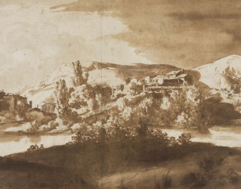 """Italian Village on a River,"" ca. 1627, Bartholomeus Breenbergh, Dutch, pen and brush and brown ink over graphite on paper. Detroit Institute of Arts"