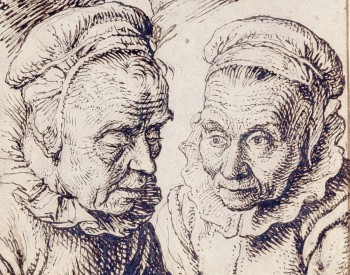 """Studies of the Heads of Two Youths and an Old Woman,"" ca. 1600-1605, Jacques de Gheyn II, Dutch; pen and brown ink over graphite on paper. Detroit Institute of Arts"