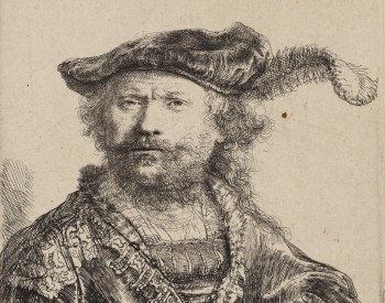"""Self Portrait in a Velvet Cap with Plume,"" 1638, Rembrandt Harmensz van Rijn, Dutch; etching printed in black ink on laid paper. Detroit Institute of Arts."