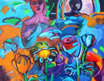 """""""Reflections and Flowers,"""" 2006, Shirley Woodson, American; acrylic on canvas."""