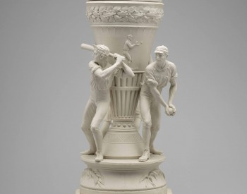 Thin, white vase adorned with baseball players. View 2