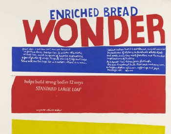"""""""Enriched Bread,"""" 1965, Corita Kent, American; screenprint printed in color ink on wove paper. Detroit Institute of Arts"""