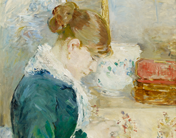 """""""Woman Sewing,"""" about 1879, Berthe Morisot, French; oil on canvas. Albright-Knox Art Gallery, Fellows for Life Fund, 1926:1."""