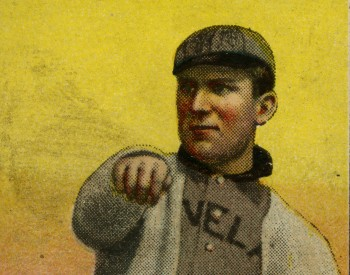 Baseball card of Nap Lajoie after just pitching a ball