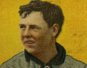 Baseball card showing a drawing of Mordecai Brown pitching a ball