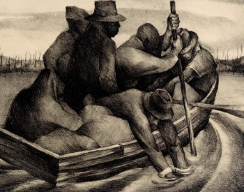 Robert Blackburn (American, 1920–2003). Refugees (aka People in a Boat), 1938. Lithograph; 11 1/8 x 15 ¾ in. Edition 4. Collection of NCCU Art Museum, North Carolina Central University, Gift of Christopher Maxey.