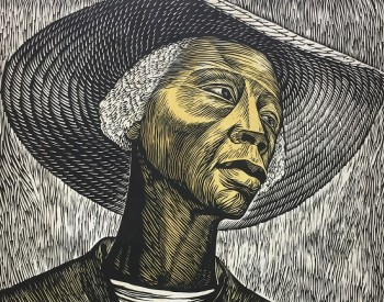 Textured portrait of an African American woman in a straw hat