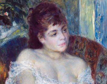 """""""Woman in an Armchair,"""" 1874, Pierre-Auguste Renoir, French; oil on canvas. Detroit Institute of Arts."""