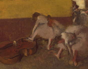 """""""Dancers in the Green Room,"""" 1879, Edgar Degas, French; oil on canvas. Detroit Institute of Arts."""