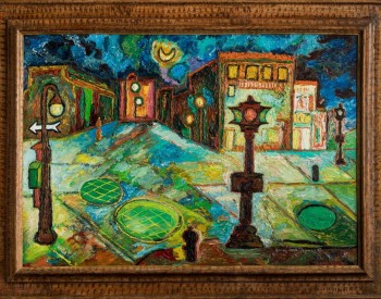"""""""Greenwich Village,"""" 1945, Beauford Delaney, American; oil on canvas. Mary Anne and Eugene A. Gargaro Jr. Collection."""