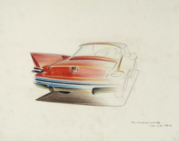 """1960 Chrysler,"" 1956, Dave Cummins, American; prismacolor on vellum. Collection of Brett Snyder."