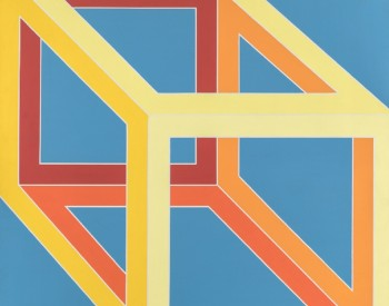 """""""Untitled Cube,"""" 1973, Alvin Loving, American; acrylic on canvas. Collection of David and Linda Whitaker."""