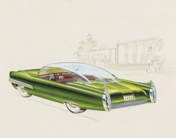 """Lincoln XL-500 Concept Car,"" 1952, Charles E. Balogh, American; watercolor, gouache, airbrush, ink, graphite on illustration board. Collection of Robert L. Edwards and Julie Hyde-Edwards."