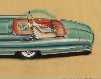 """Ford Nucleon Atomic Powered Vehicle, Rear Side View,"" 1956, Albert L. Mueller, American; gouache, pastel, prismacolor, brown-line print on vellum. Collection of Robert L. Edwards and Julie Hyde-Edwards."