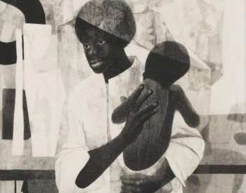"""""""Mother and Child,"""" 1965, Charles McGee, American; charcoal drawing. Attorney Jerome Watson and Judge Deborah Geraldine Bledsoe Ford."""