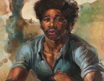 """""""The Hero,"""" 1960, Leroy Foster, American; oil on masonite. Dr. Darnell and Shirley A. Kaigler."""