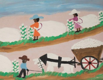 """""""Picking Cotton,"""" 1968, Clementine Hunter, American; oil on board. Joann and Harold Braggs Collection."""