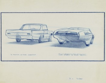 """'61 Pontiac Catalina vs. Aerodynamic Streamlined Sedan,"" 1959, William Porter, American; prismacolor on vellum. Collection of Bill and Patsy Porter."