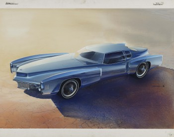 """Toronado Proposal,"" 1968, Roger Hughet, American; gouache and prismacolor on illustration board. Collection of Roger Hughet."