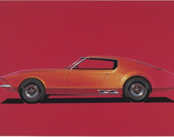 """Ford Mustang,"" 1965, Howard Payne, American; prismacolor and gouache on red charcoal paper. Collection of Brett Snyder."