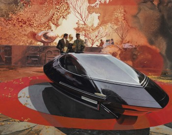 """Elwood Engel Design for a Gyroscopically Stabilized Two Wheel Car,"" about 1960, Sydney Jay Mead, American; gouache, liquid resist, graphite on illustration board. Collection of Brett Snyder."