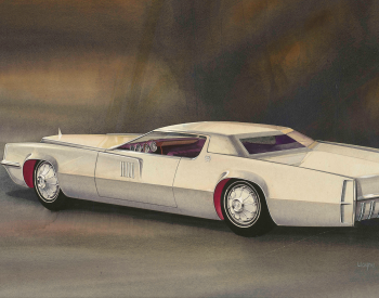 """Rendering of Proposed 1967 Cadillac Eldorado Design,"" 1964, Wayne Kady, American; watercolor, gouache, and ink on paper. From the Collections of The Henry Ford, Dearborn, Michigan."