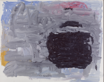 Abstract painting with large swatches of black and gray