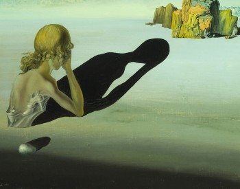 """Remorse, or Sphinx Embedded in the Sand,"" 1931, Salvador Dalí, Spanish; oil on canvas. Eli and Edythe Broad Art Museum, Michigan State University, Gift of John Wolfram, 61.8. © 2019 Salvador Dalí, Fundació Gala-Salvador Dalí, Artists Rights Society."
