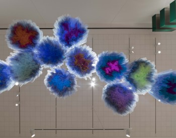 """Synthetic Cloud"", 2018, (installation view from below), Isabel Toledo, Cuban-American (born 1960) and Ruben Toledo, Cuban-American (born 1961); Nylon. Courtesy of the artists and the Toledo Studio"