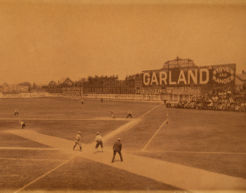 Old sepia-toned photograph of Recreation Park baseball field during a game