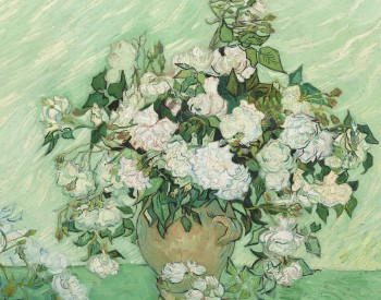 """Roses,"" 1890, Vincent van Gogh, Dutch; oil on canvas. National Gallery of Art, Washington, DC, Gift of Pamela Harriman in memory of W. Averell Harriman, 1991.67.1."
