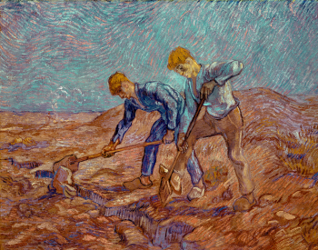 """Two Peasants Digging,"" 1889, Vincent van Gogh, Dutch; oil on canvas. Stedelijk Musuem, Amsterdam, A411."