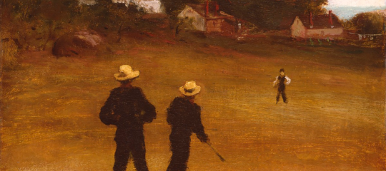 Painting of men playing baseball in black clothing on a warm-toned field