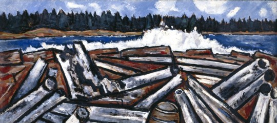 Marsden Hartley, Log Jam, Penobscot Bay, 1940-1941, oil on Masonite (TM). Detroit Institute of Arts.