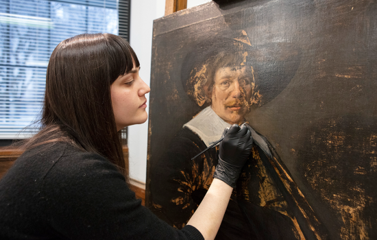 Becca Goodman working on Jan Hals portrait