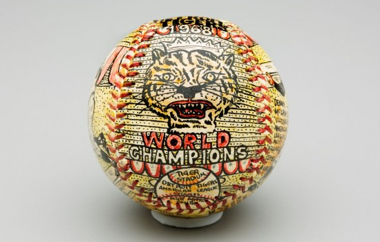 Detroit Tigers 1968 World Champions ball, 1969, pen and ink on leather. Artist: George Sosnak.
