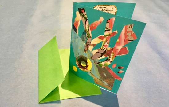 An example of collage greeting cards made in the art-making studio