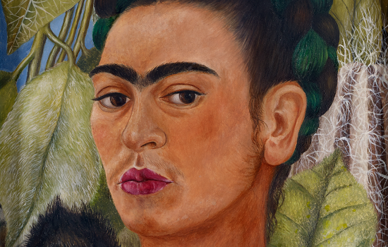 """Self-Portrait with Monkey,"" 1938, Frida Kahlo, Mexican; oil on masonite. Collection Albright-Knox Art Gallery, Buffalo, New York; Bequest of A. Conger Goodyear, 1966 (1966:9.10)."