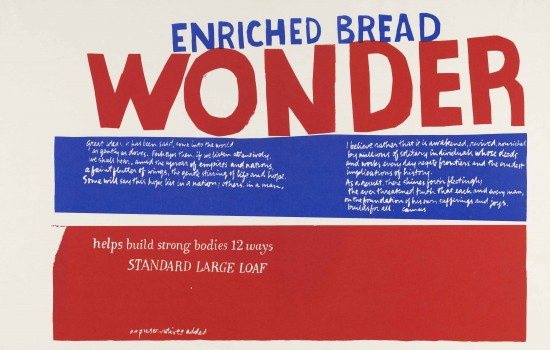 """Enriched Bread,"" 1965, Corita Kent, American; screenprint printed in color ink on wove paper. Detroit Institute of Arts"