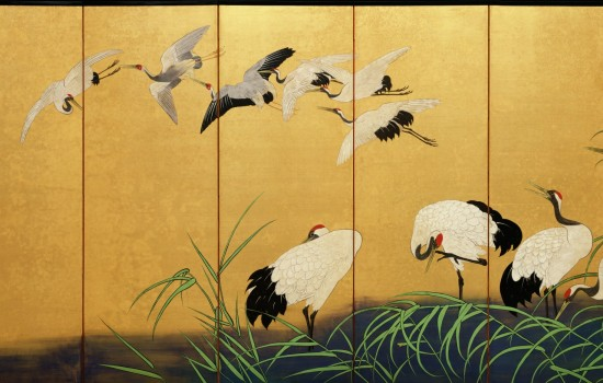 Suzuki Kiitsu, Reeds and Cranes, 19th Century, Colors on gilded silk. Detroit Institute of Arts.