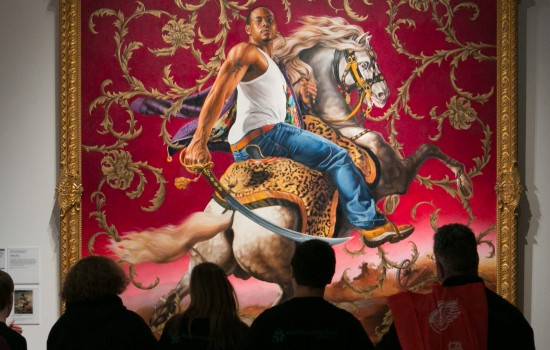"A tour stops in front of Kehinde Wiley's ""Equestrian Portrait of the Count Duke Olivares"""