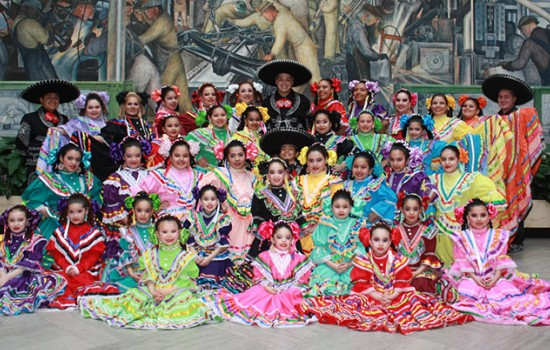Ballet Folklorico de Detroit in traditional dress in Rivera Court
