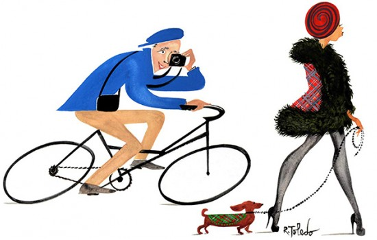 A painting by Ruben Toledo of Bill Cunningham photographing a woman while riding a bike