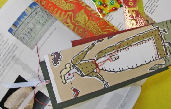 Handmade bookmarks on top of an open book