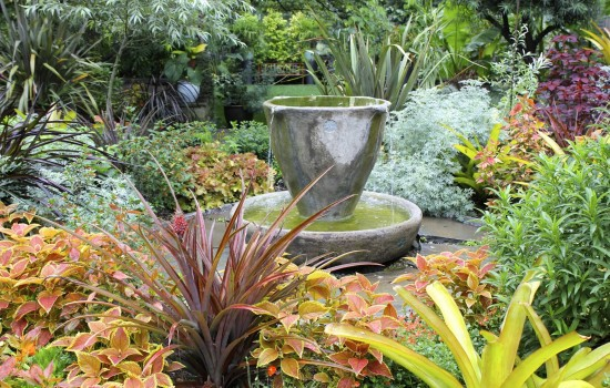 An image of a small water fountain in the Chanticleer Garden